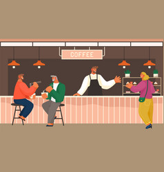 cafe shop modern people have a good vector image