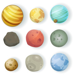Cartoon planets set vector
