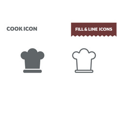 chef hat icon fill and line flat design vector image