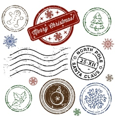 Christmas stamp set isolated on white vector