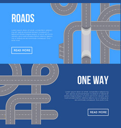 city traffic horizontal flyers with highway roads vector image