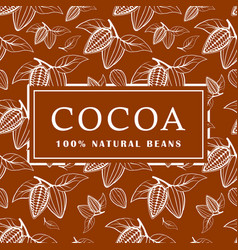 cocoa beans with leaves on brown background vector image