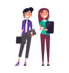 Colleagues elegant businesswomen pretty girls set vector