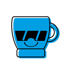 Color happy coffee cup kawaii with sunglasses vector