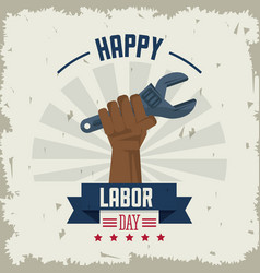Colorful poster of happy labor day with afro vector