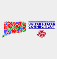 Composition connecticut state map symbol mosaic vector