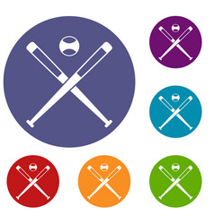 Crossed baseball bats and ball icons set vector