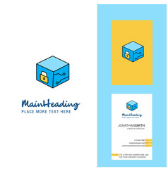 cube creative logo and business card vertical vector image