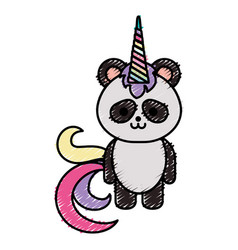 cute fantasy panda bear with unicorn horn vector image