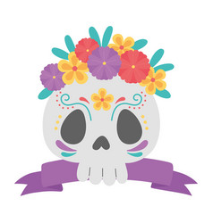 day dead floral skull flowers and ribbon vector image