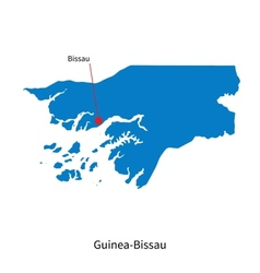 Detailed map of Guinea-Bissau and capital city vector