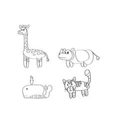 drawing cartoon animal giraffe rhino whale cat vector image