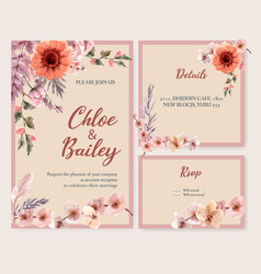 Dried floral wedding card design with orchid vector