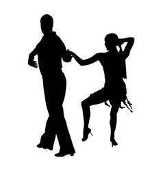 elegance tango latino dancers couple silhouette vector image