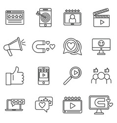 Engaging content digital icons set outline style vector