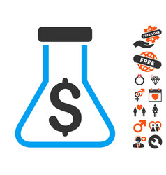 Financial alchemy icon with valentine bonus vector