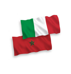 Flags italy and morocco on a white background vector