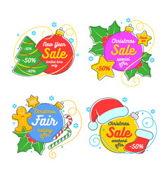 flat linear christmas banner scroll tag vector image