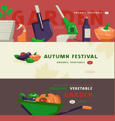 for autumn festival gardening tools and vegetables vector image