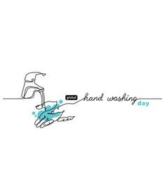 global handwashing day minimalist line art border vector image