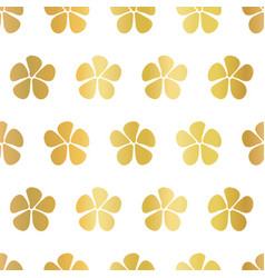 gold foil flowers seamless pattern white vector image