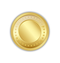 golden token decorated with stars placed on white vector image