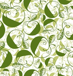Green decorative curly seamless pattern with vector