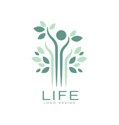 Green life logo with leaves and abstract human vector