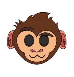 happy cute expressive monkey cartoon icon image vector image