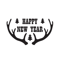 happy new year inscription with reindeer horn icon vector image