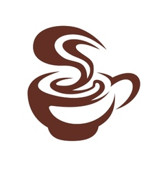 Hot cup of coffee with swirling steam vector