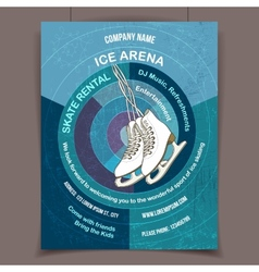 Ice skating rink advertising poster vector image