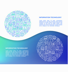 information technology in circle thin line icons vector image