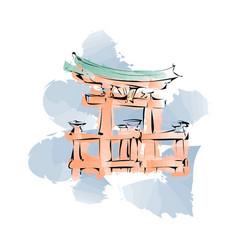 japanese architecture gates miyajima torii vector image