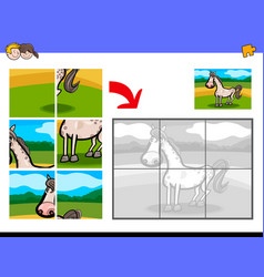Jigsaw puzzles with horse farm animal vector