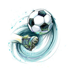 kick a soccer ball leg and football ball from vector image