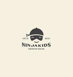 Kids head ninja cute smile logo icon symbol vector