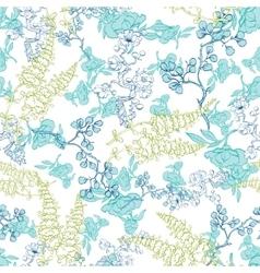 Kimono Plants Lineart Seamless Pattern vector