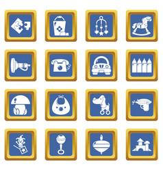 kindergarten icons set blue square vector image