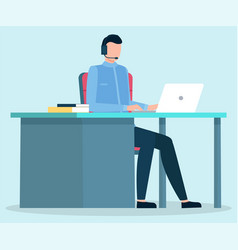 Man work on laptop comfort workplace at office vector