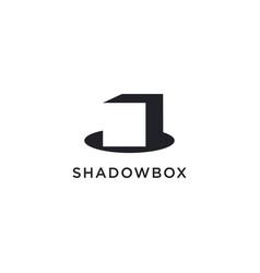 Minimalist box and shadow logo icon vector