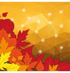 Modern abstract yellow background with leaves vector image