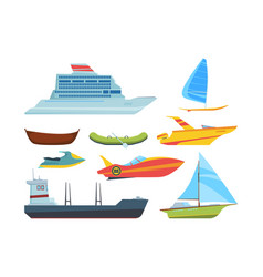 modern and old water transport flat vector image
