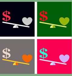 Money weights over the heart scales between love vector