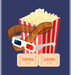 movie coupons glasses and snack filmstrip vector image