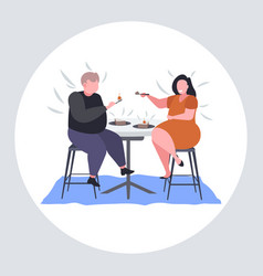 Obese couple eating sweet tasty cake overweight vector