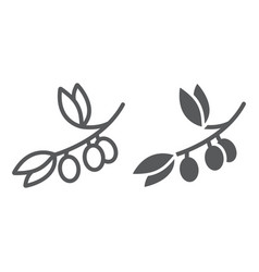 olive branch line and glyph icon plant and tree vector image