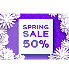 origami white spring sale flowers banner paper vector image