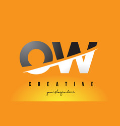 ow o w letter modern logo design with yellow vector image
