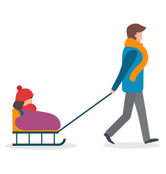 parent and child walking outdoor child on sleigh vector image